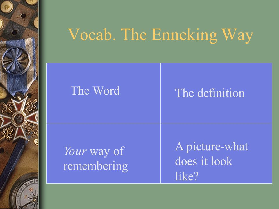 Vocab.-The Enneking Way (an example) Patriot An American colonist who sided with the rebels in the American Revolution.