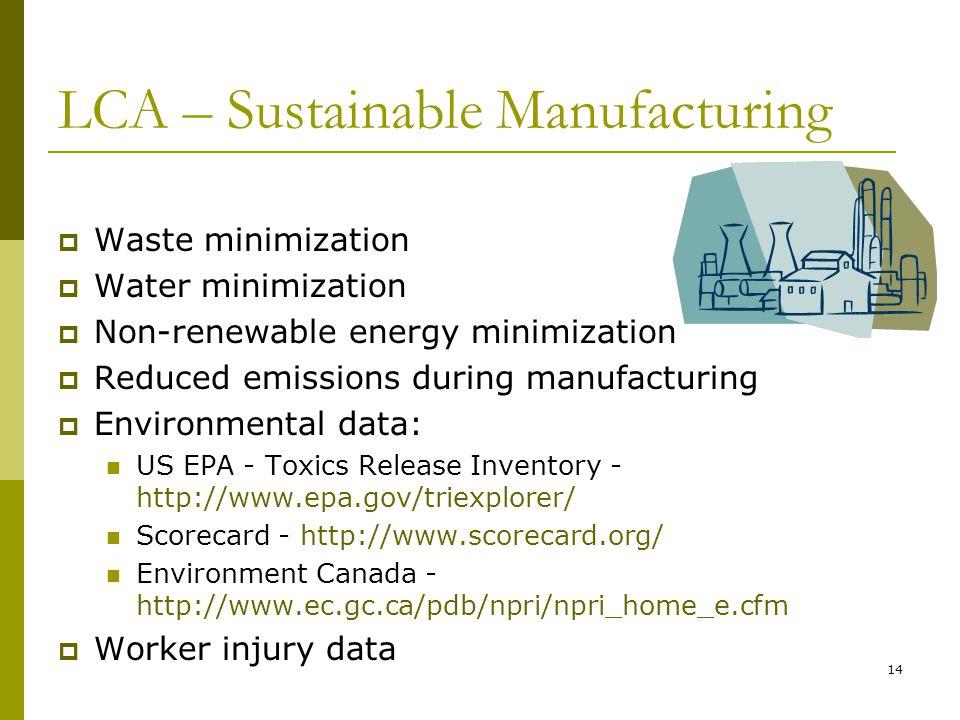 14 LCA – Sustainable Manufacturing  Waste minimization  Water minimization  Non-renewable energy minimization  Reduced emissions during manufactur