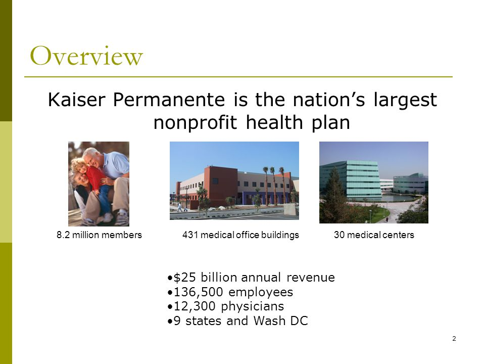 2 Overview Kaiser Permanente is the nation's largest nonprofit health plan 8.2 million members30 medical centers431 medical office buildings $25 billion annual revenue 136,500 employees 12,300 physicians 9 states and Wash DC
