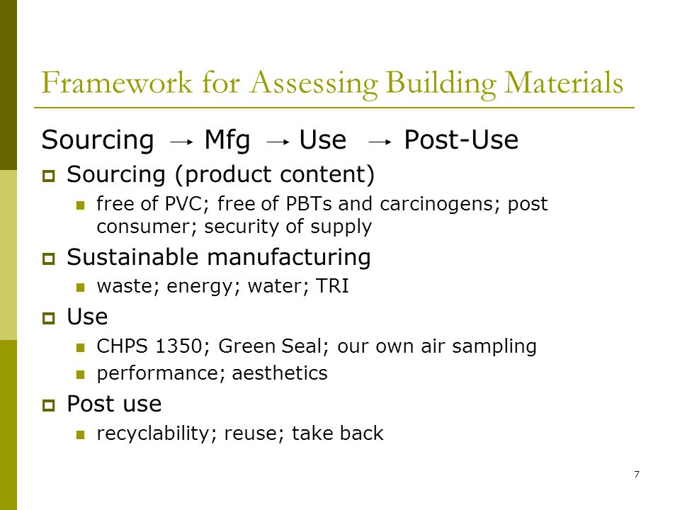8 Overview – Casework Project  Project context  Results  Details – limited LCA – 7 vendors Sourcing Manufacturing Use Post-Use