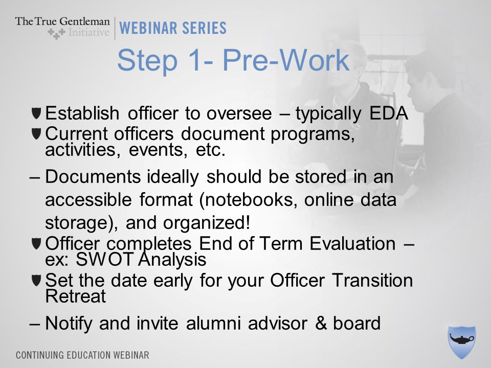 Step 1- Pre-Work Establish officer to oversee – typically EDA Current officers document programs, activities, events, etc.