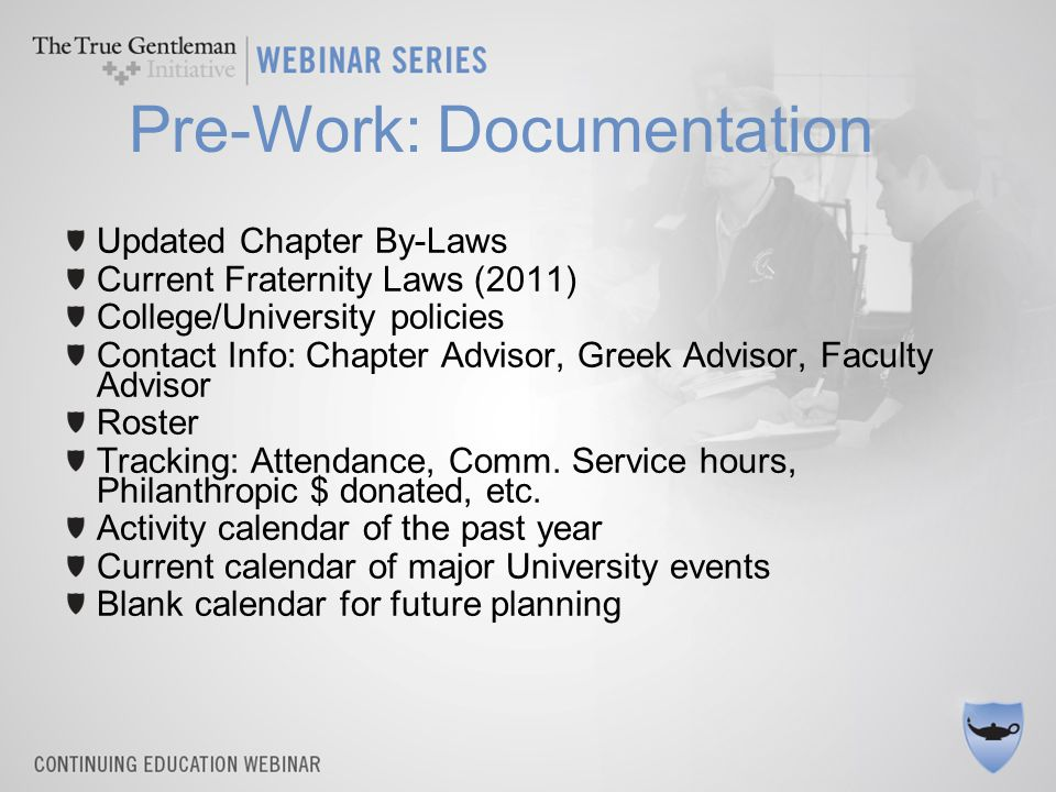Pre-Work: Documentation Job Description – What am I responsible for, expected to oversee.