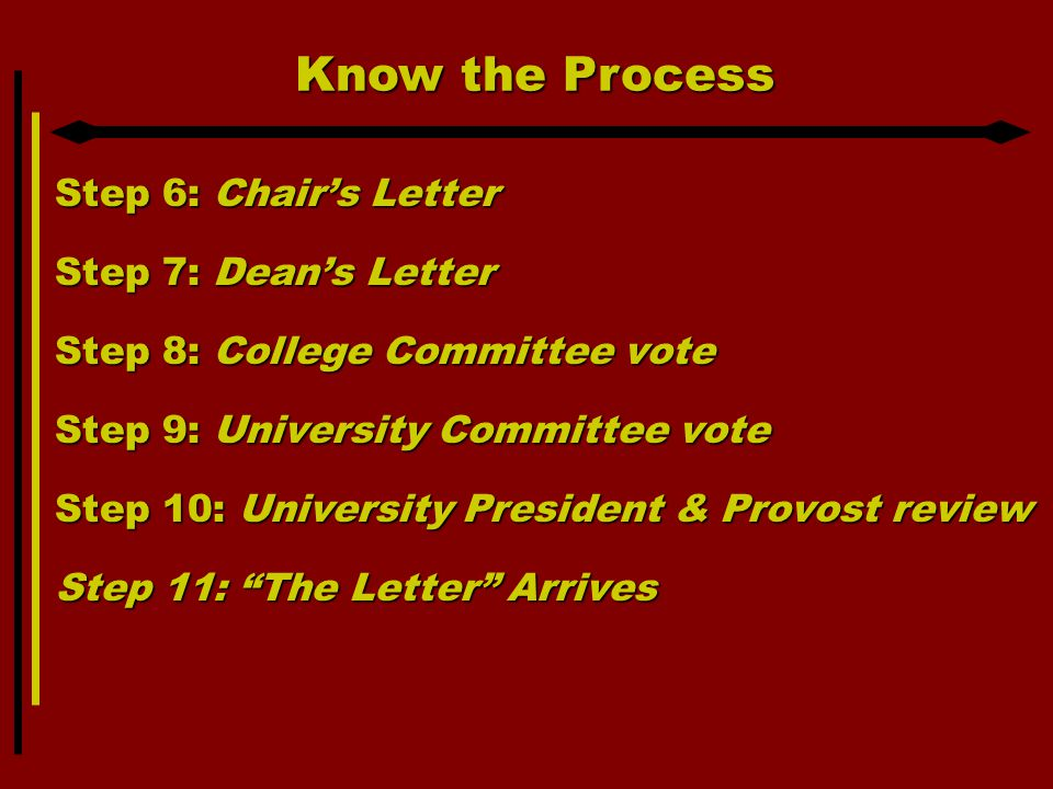 Know the Process Step 6: Chair's Letter Step 7: Dean's Letter Step 8: College Committee vote Step 9: University Committee vote Step 10: University Pre
