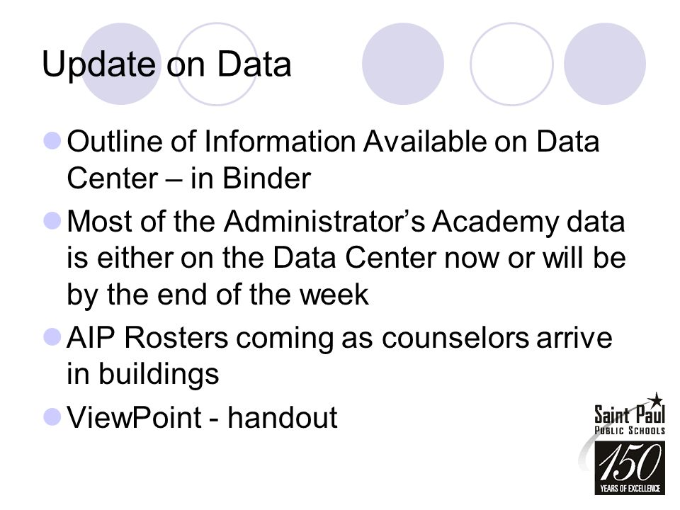 Update on Data Outline of Information Available on Data Center – in Binder Most of the Administrator's Academy data is either on the Data Center now or will be by the end of the week AIP Rosters coming as counselors arrive in buildings ViewPoint - handout