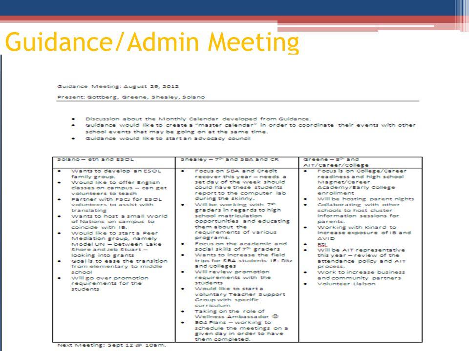 Guidance/Admin Meeting