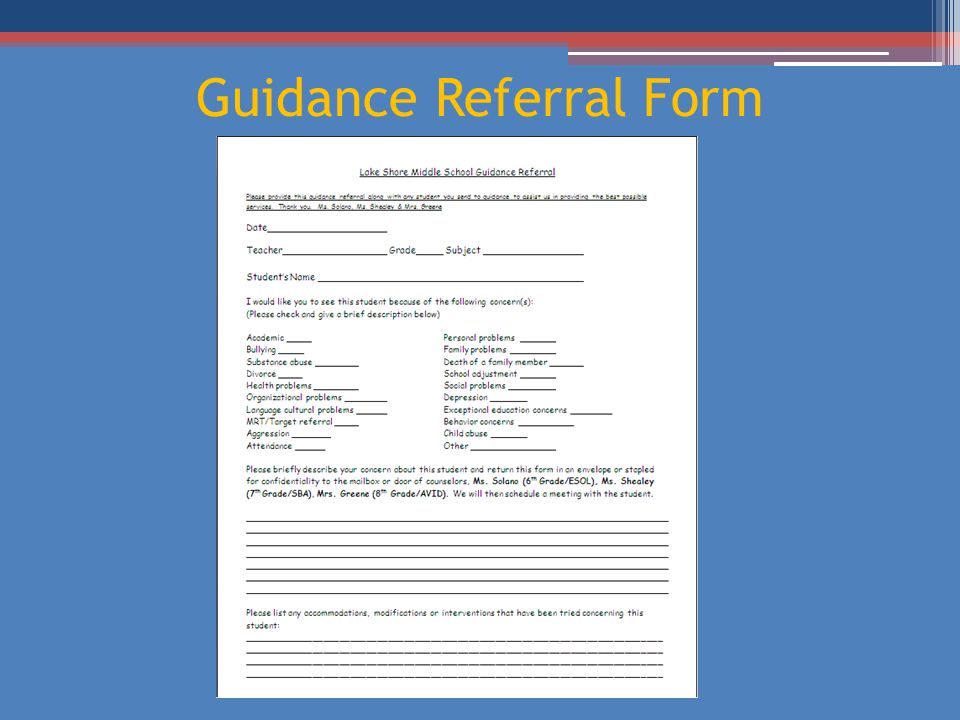 Guidance Referral Form