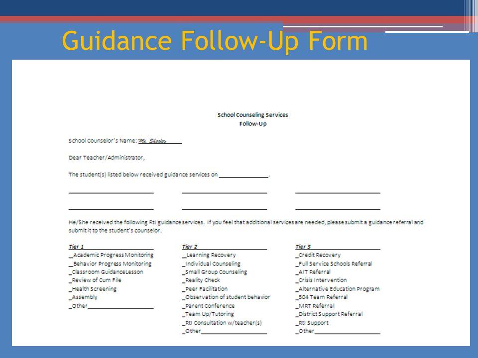 Guidance Follow-Up Form