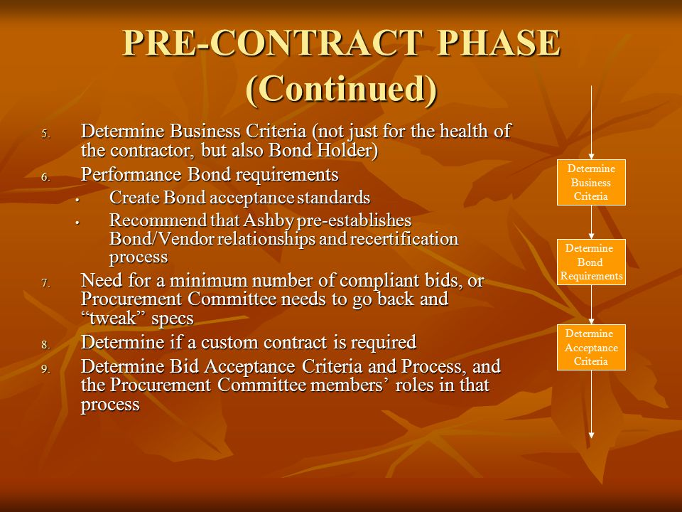 PRE-CONTRACT PHASE (Continued) 5. Determine Business Criteria (not just for the health of the contractor, but also Bond Holder) 6. Performance Bond re