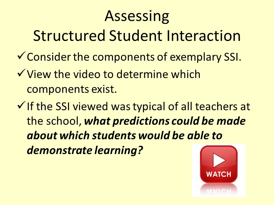 Assessing Structured Student Interaction Consider the components of exemplary SSI.