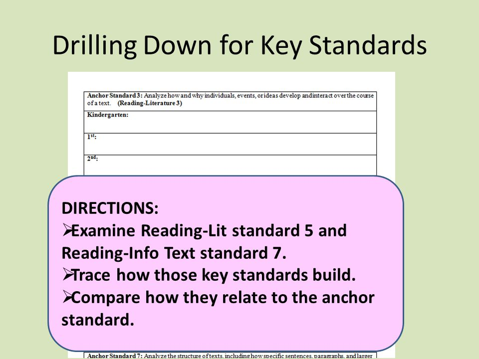 Drilling Down for Key Standards DIRECTIONS:  Examine Reading-Lit standard 5 and Reading-Info Text standard 7.