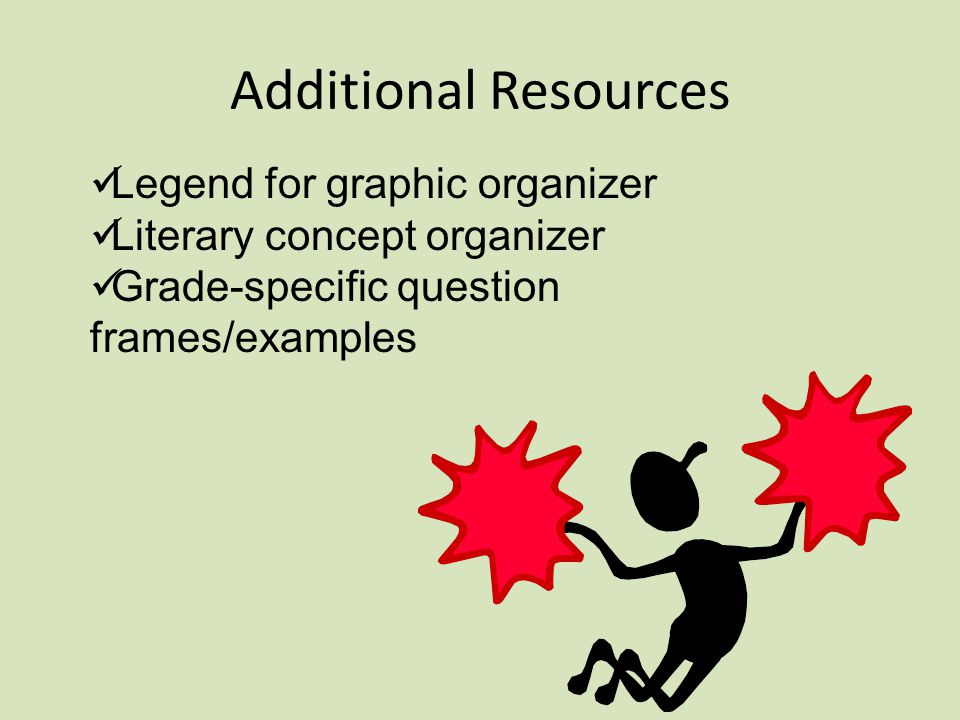 Additional Resources Legend for graphic organizer Literary concept organizer Grade-specific question frames/examples