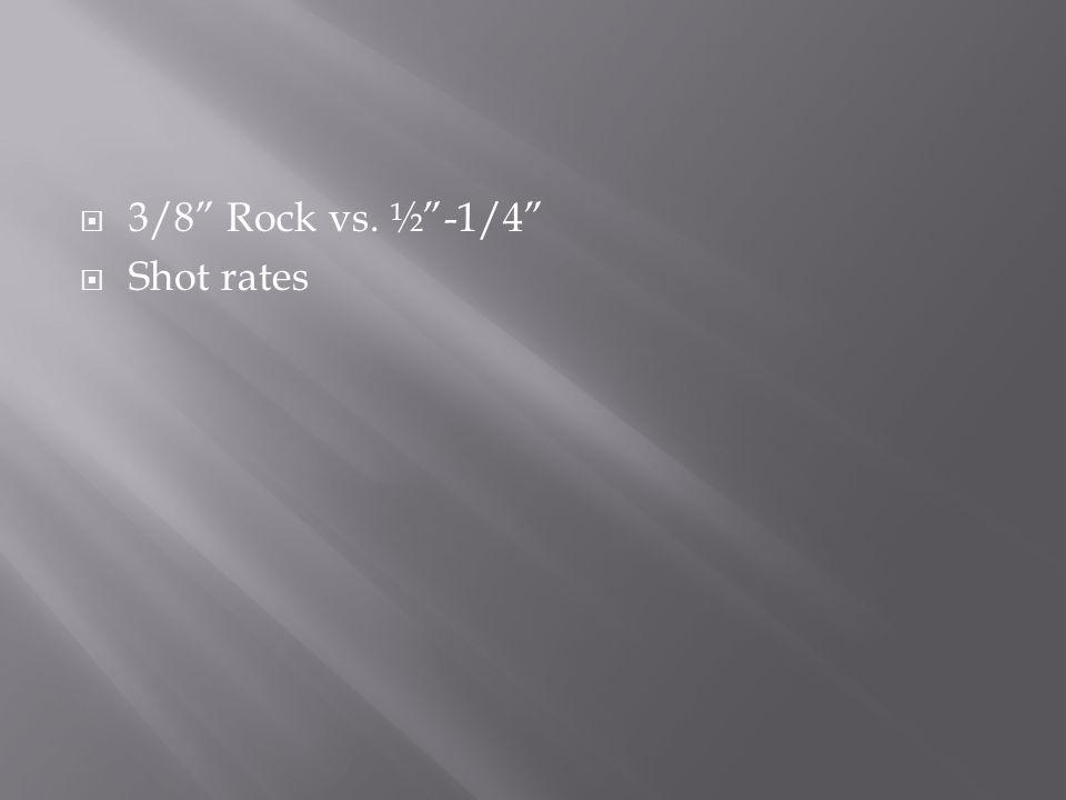  3/8 Rock vs. ½ -1/4  Shot rates