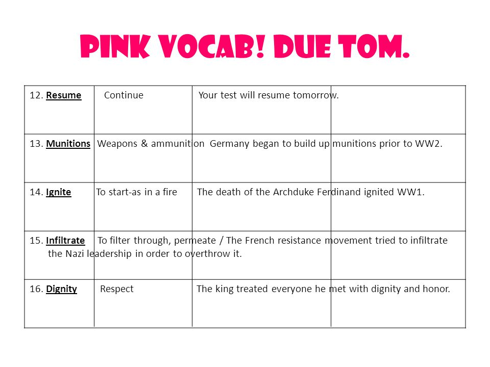 Pink Vocab.Due Tom. 12. Resume Continue Your test will resume tomorrow.
