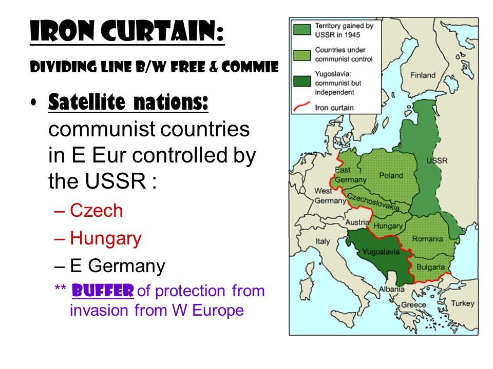 Iron Curtain: dividing line b/w free & commie Satellite nations: communist countries in E Eur controlled by the USSR : –Czech –Hungary –E Germany ** Buffer of protection from invasion from W Europe