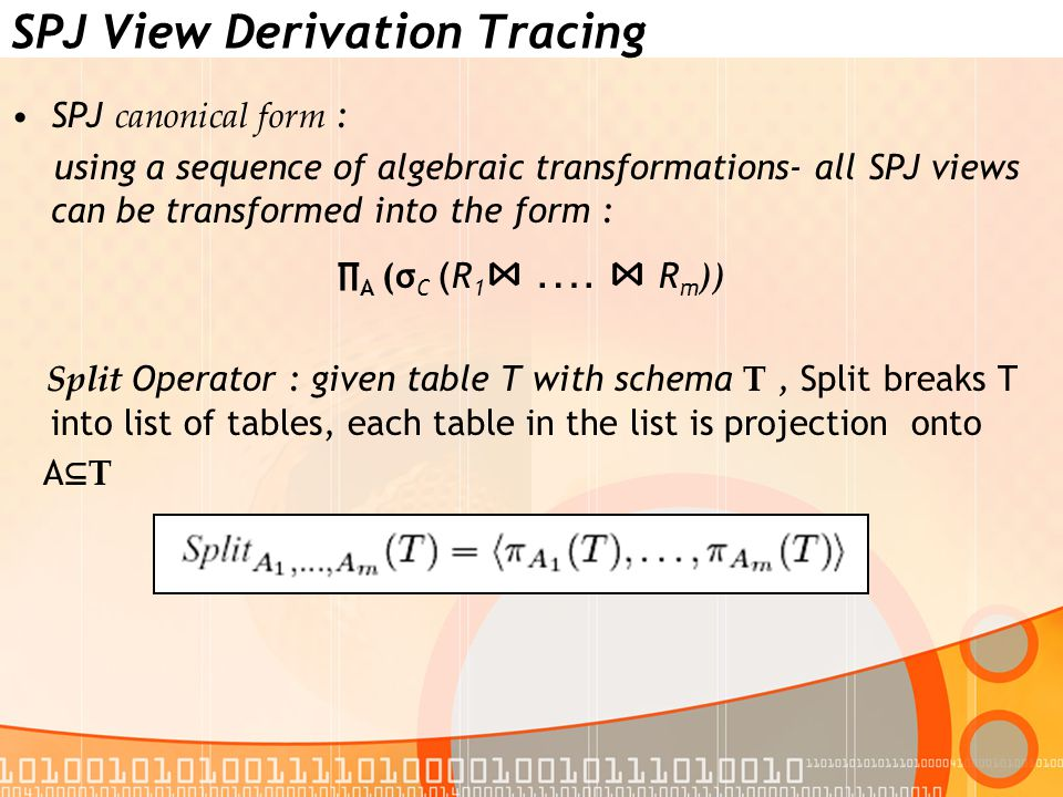 SPJ View Derivation Tracing SPJ canonical form : using a sequence of algebraic transformations- all SPJ views can be transformed into the form : ∏ A (σ C ( R 1 ⋈ ….