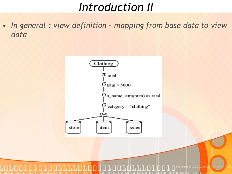 Introduction III In general : view definition - mapping from base data to view data View definition