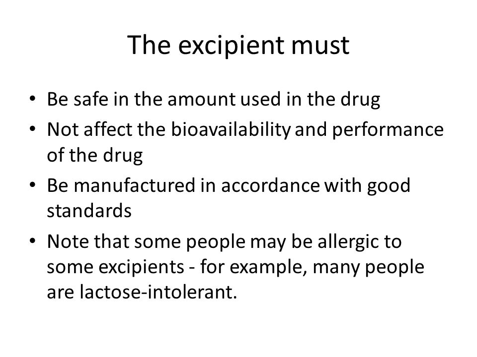 How do we choose the right excipient.