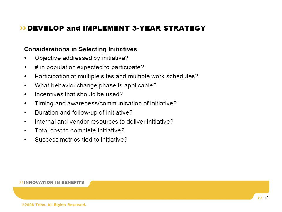 ©2008 Trion. All Rights Reserved. 18 DEVELOP and IMPLEMENT 3-YEAR STRATEGY Considerations in Selecting Initiatives Objective addressed by initiative?