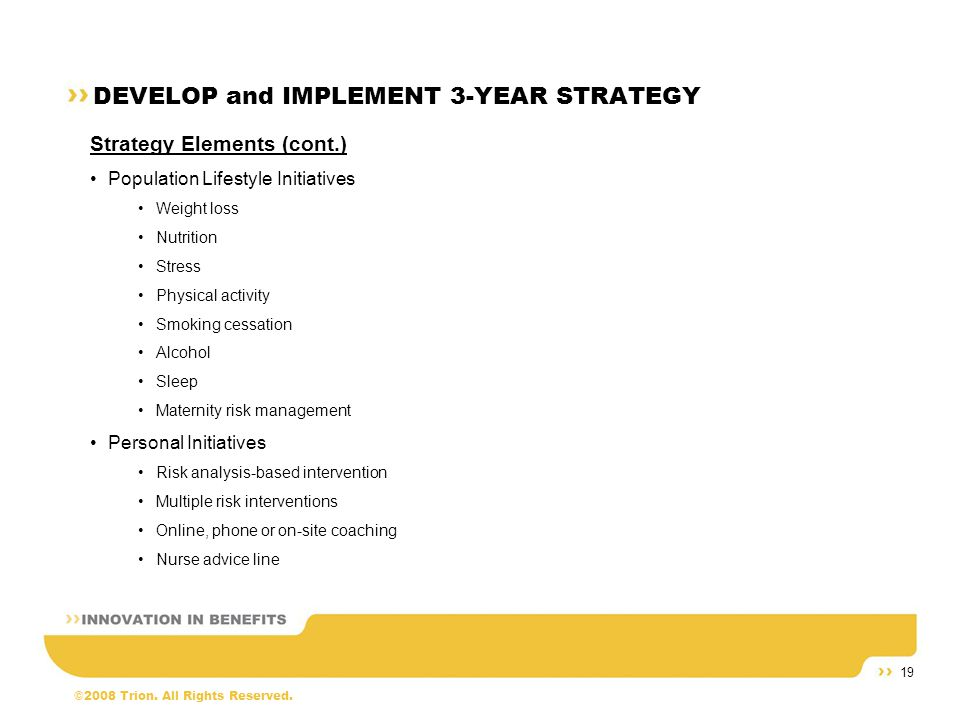 ©2008 Trion. All Rights Reserved. 19 DEVELOP and IMPLEMENT 3-YEAR STRATEGY Strategy Elements (cont.) Population Lifestyle Initiatives Weight loss Nutr