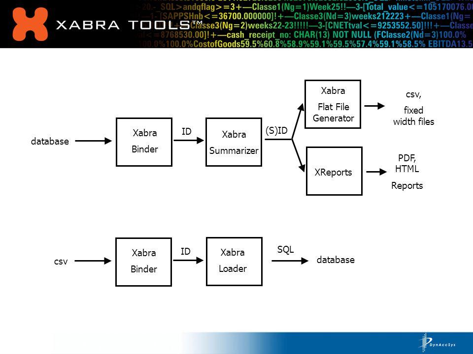database Xabra Binder Xabra Loader Xabra Summarizer XReports (S)ID ID Filter Process (SF)ID SQL database PDF, HTML Reports Xabra Binder database Xabra Binder csv Xabra Binder Consolidation Process ID (C)ID Xabra Flat File Generator csv, fixed width files
