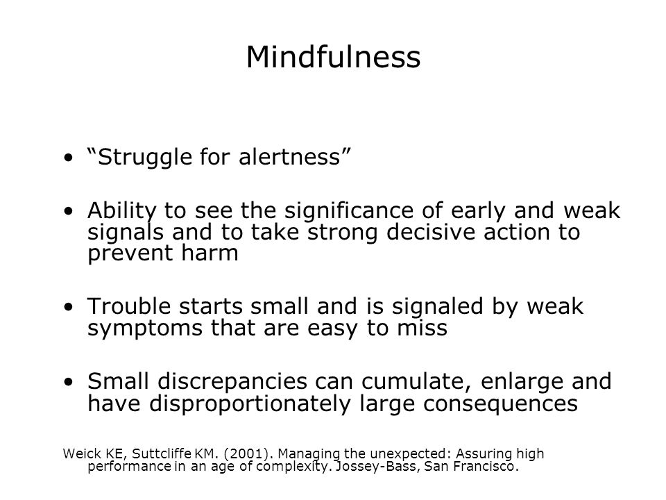 """Mindfulness """"Struggle for alertness"""" Ability to see the significance of early and weak signals and to take strong decisive action to prevent harm Trou"""