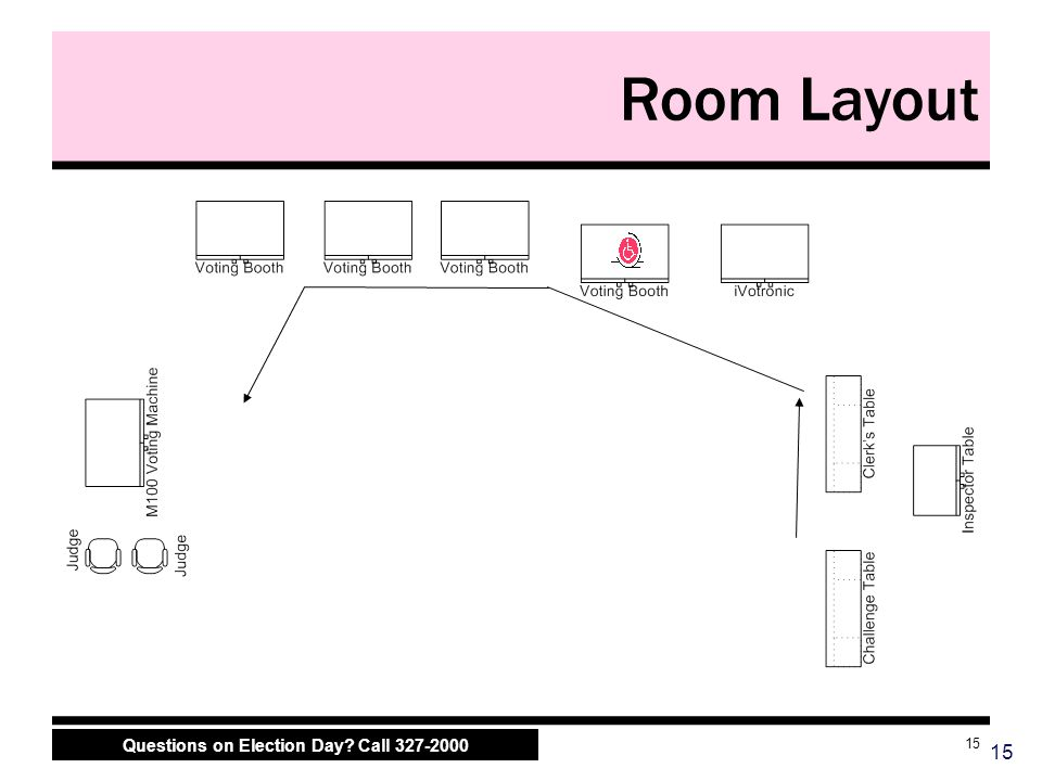 Questions on Election Day? Call 327-2000 15 Room Layout