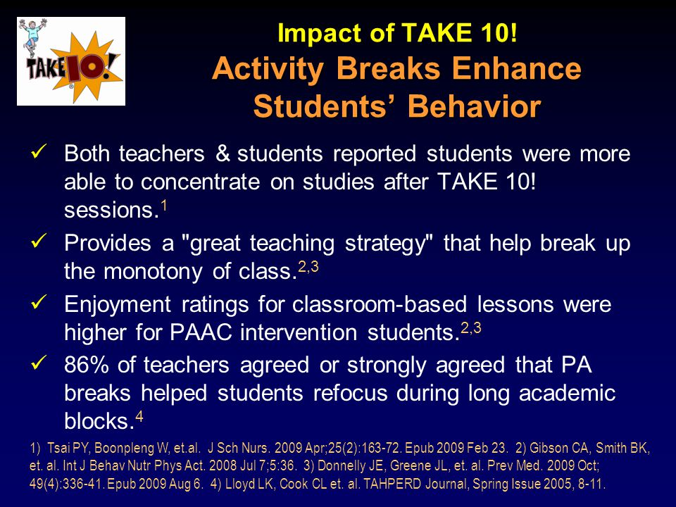 Impact of TAKE 10! Activity Breaks Enhance Students' Behavior Both teachers & students reported students were more able to concentrate on studies afte