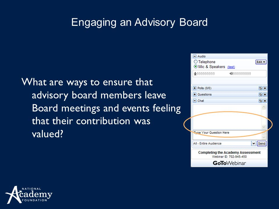 What are ways to ensure that advisory board members leave Board meetings and events feeling that their contribution was valued.