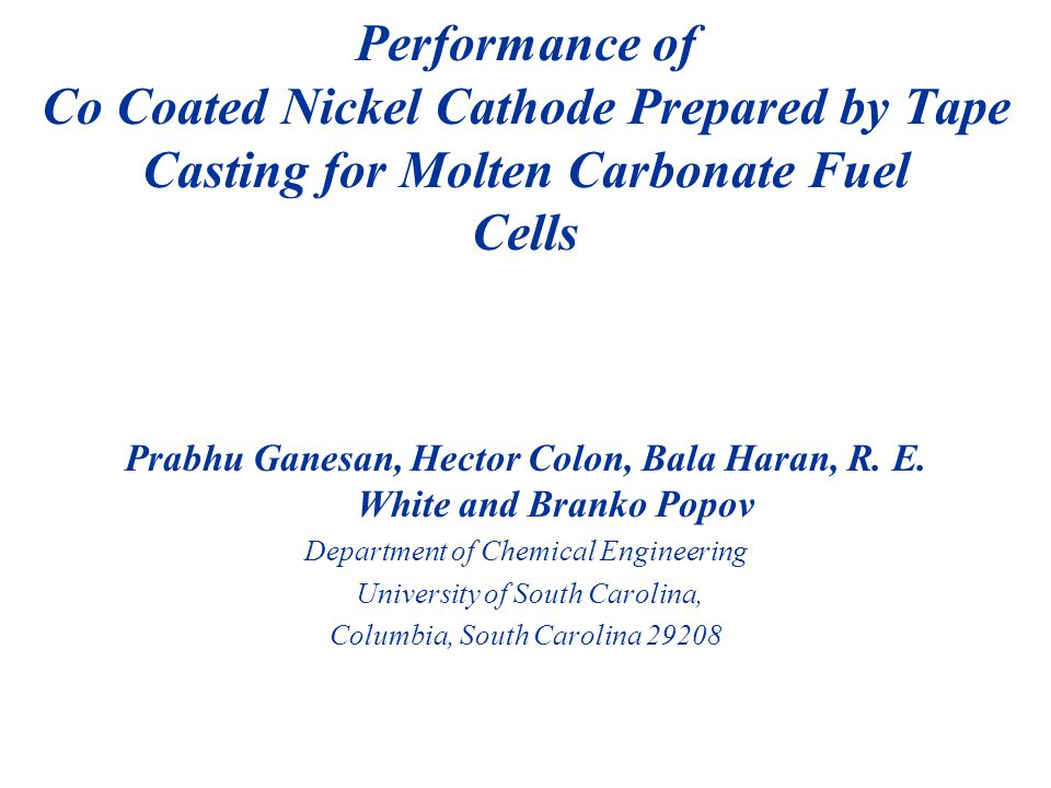 Prabhu Ganesan, Hector Colon, Bala Haran, R. E. White and Branko Popov Department of Chemical Engineering University of South Carolina, Columbia, Sout