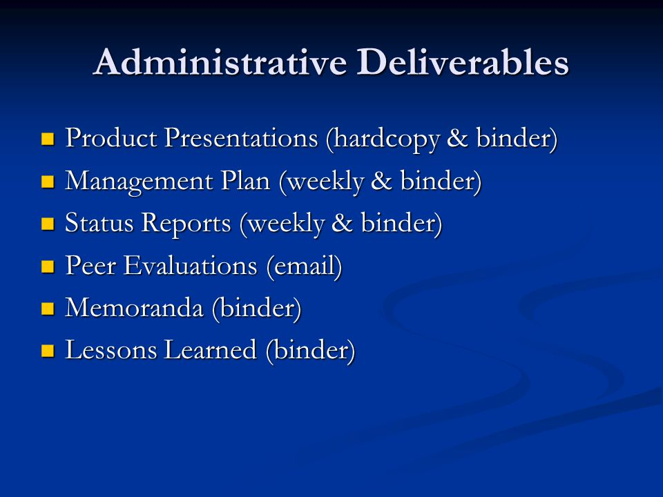 Administrative Deliverables – Product Presentations The Product Presentations are limited to 7 minutes and should cover the following; The Product Presentations are limited to 7 minutes and should cover the following; Cycle Progress – measure in terms of User Stories.