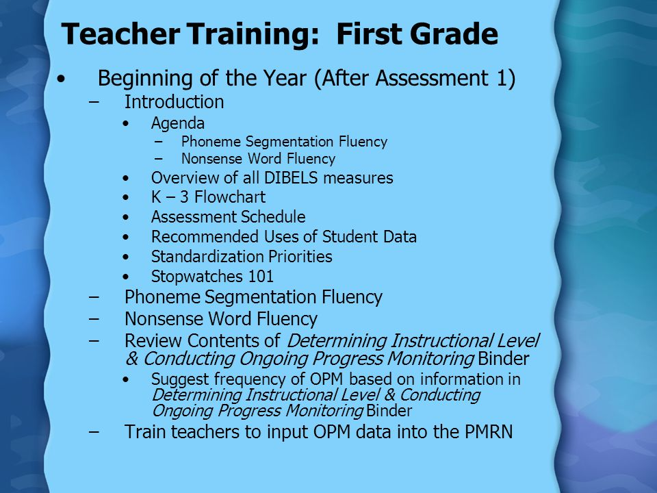 Teacher Training: First Grade Beginning of the Year (After Assessment 1) –Introduction Agenda –Phoneme Segmentation Fluency –Nonsense Word Fluency Overview of all DIBELS measures K – 3 Flowchart Assessment Schedule Recommended Uses of Student Data Standardization Priorities Stopwatches 101 –Phoneme Segmentation Fluency –Nonsense Word Fluency –Review Contents of Determining Instructional Level & Conducting Ongoing Progress Monitoring Binder Suggest frequency of OPM based on information in Determining Instructional Level & Conducting Ongoing Progress Monitoring Binder –Train teachers to input OPM data into the PMRN