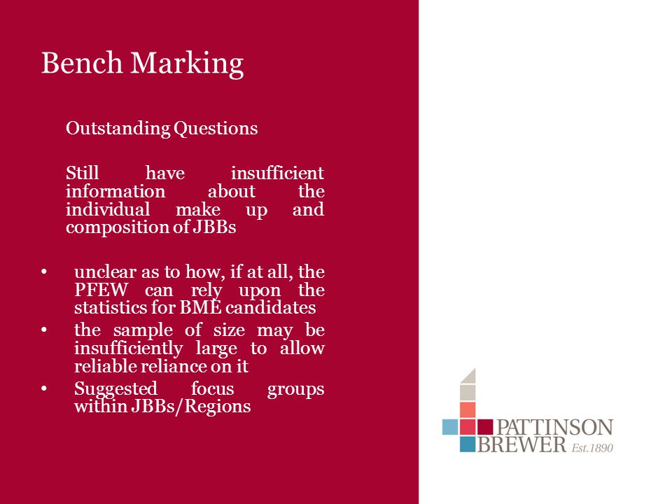 Bench Marking Outstanding Questions Still have insufficient information about the individual make up and composition of JBBs unclear as to how, if at all, the PFEW can rely upon the statistics for BME candidates the sample of size may be insufficiently large to allow reliable reliance on it Suggested focus groups within JBBs/Regions