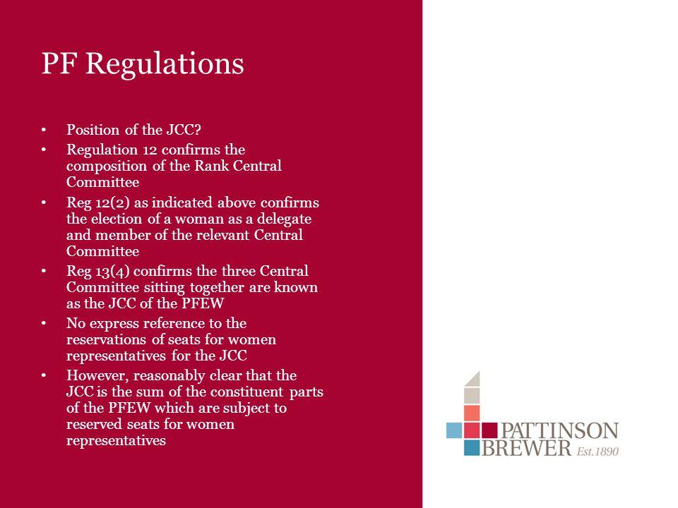 PF Regulations Position of the JCC.