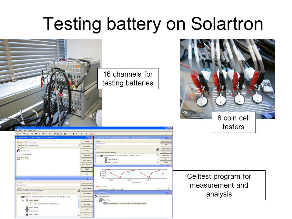 Testing battery on Solartron 16 channels for testing batteries 8 coin cell testers Celltest program for measurement and analysis