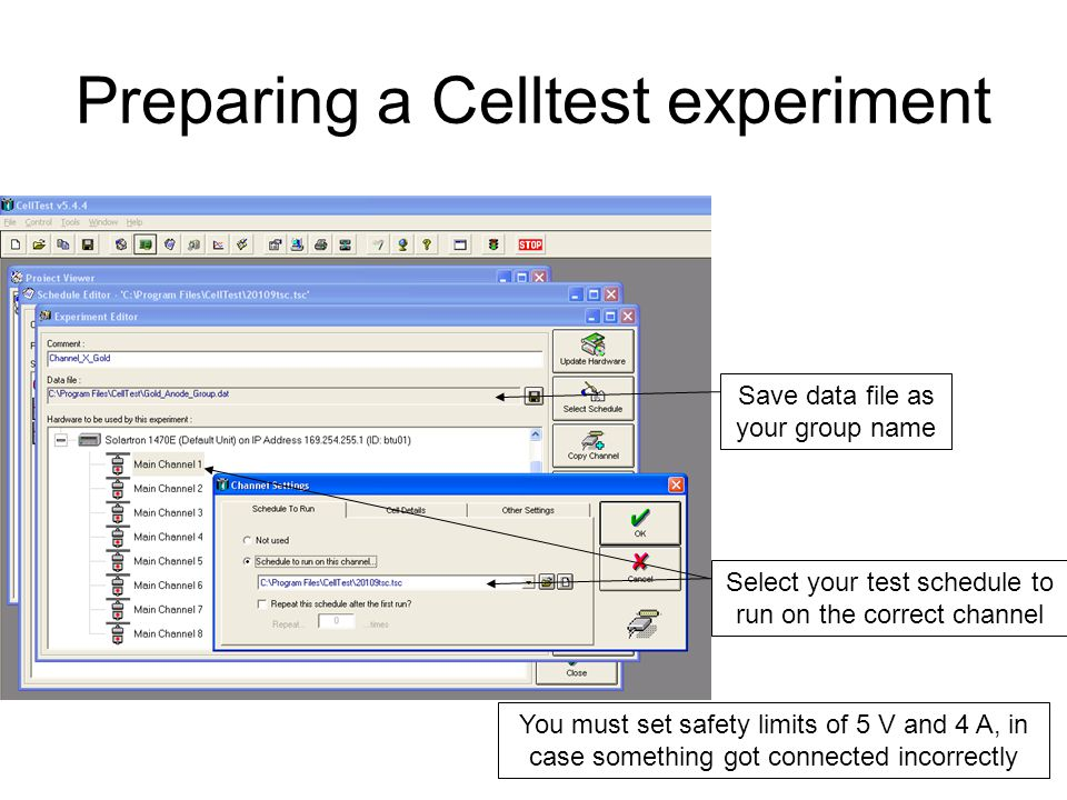 Preparing a Celltest experiment Save data file as your group name Select your test schedule to run on the correct channel You must set safety limits of 5 V and 4 A, in case something got connected incorrectly
