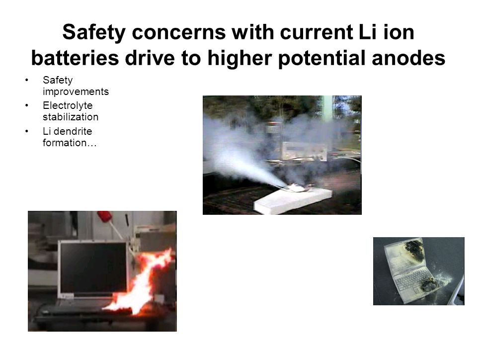 Safety concerns with current Li ion batteries drive to higher potential anodes Safety improvements Electrolyte stabilization Li dendrite formation…