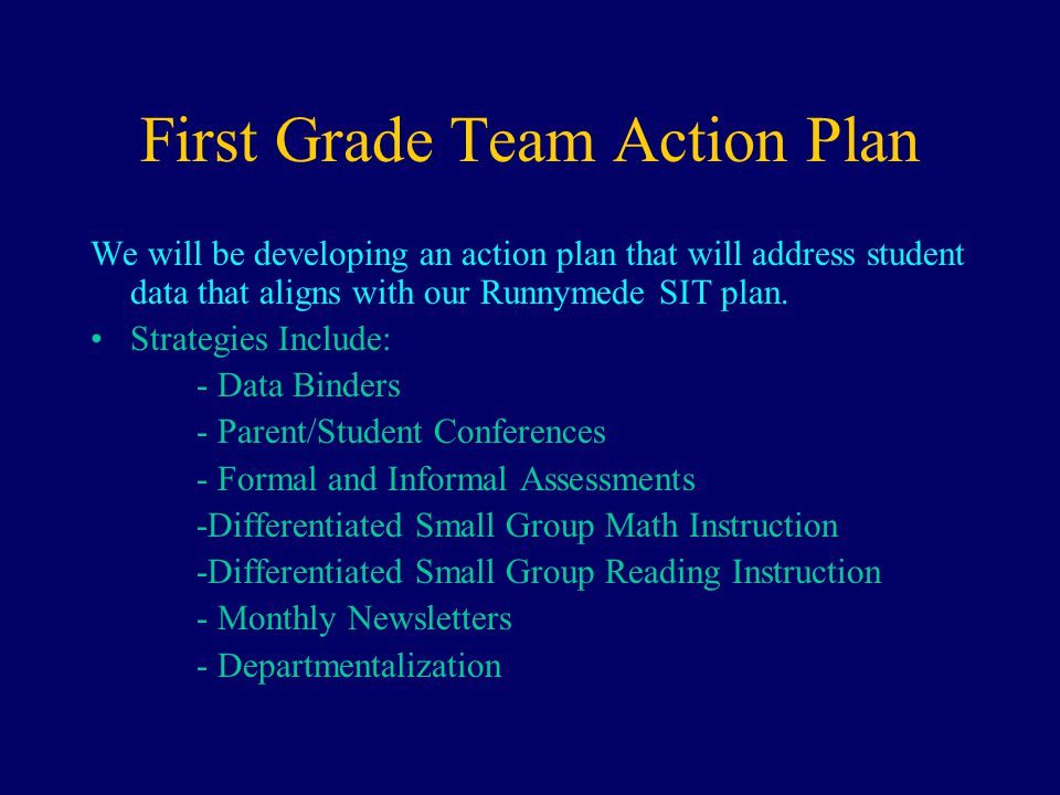 First Grade Team Action Plan We will be developing an action plan that will address student data that aligns with our Runnymede SIT plan.