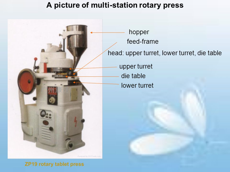 A picture of multi-station rotary press hopper feed-frame head: upper turret, lower turret, die table upper turret die table lower turret