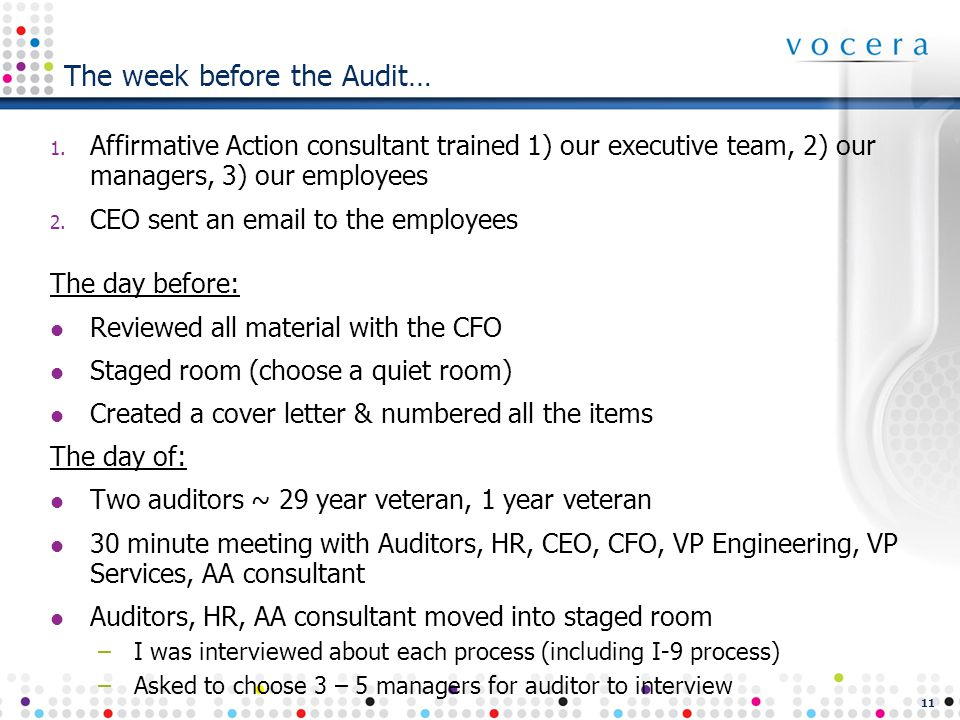 11 The week before the Audit… 1.
