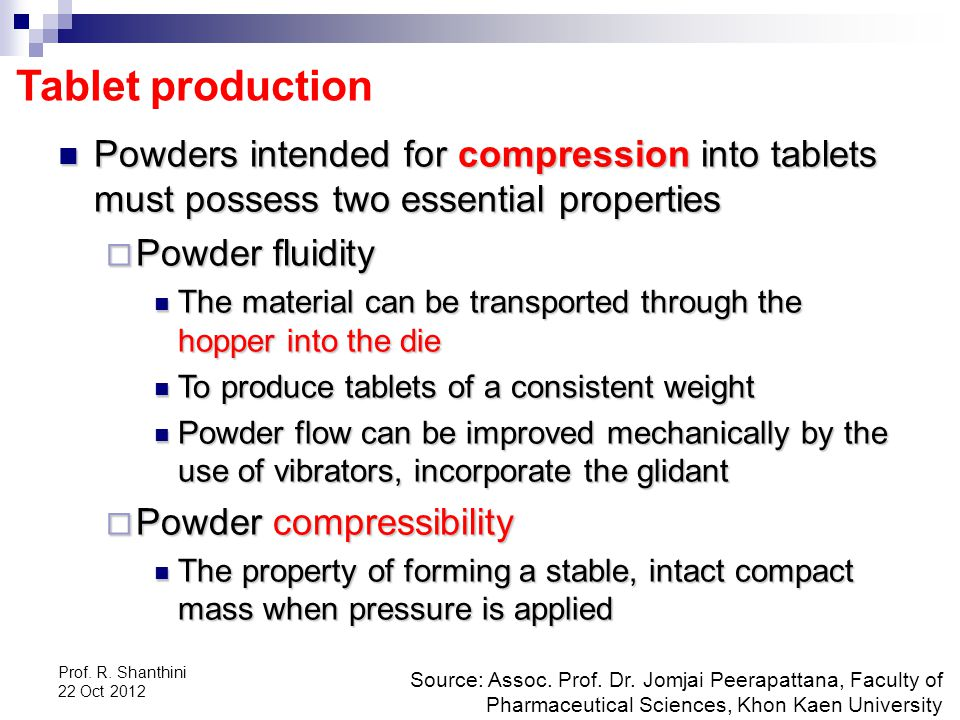 Prof.R. Shanthini 22 Oct 2012 Tablet production Source: Assoc.