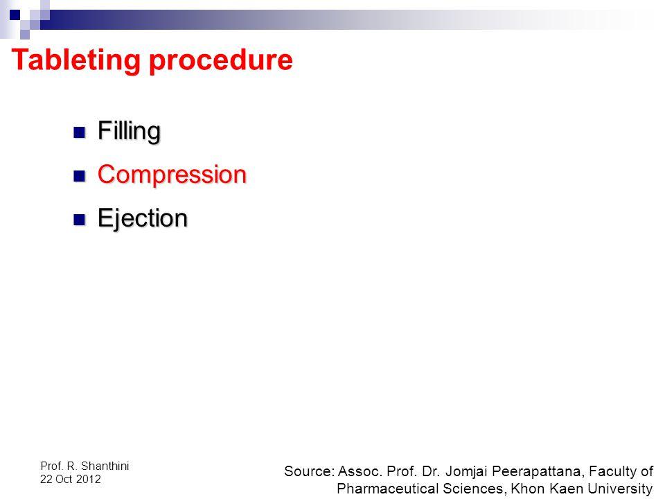Prof.R. Shanthini 22 Oct 2012 Tableting procedure Source: Assoc.