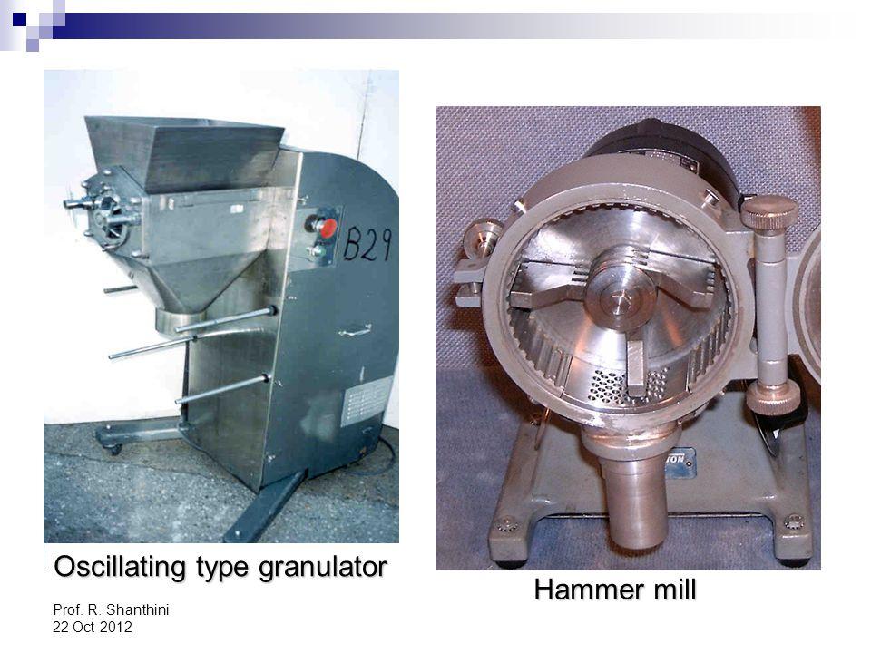 Prof. R. Shanthini 22 Oct 2012 Oscillating type granulator Hammer mill