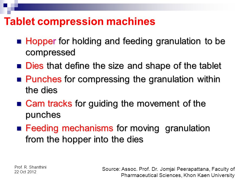 Prof.R. Shanthini 22 Oct 2012 Tablet compression machines Source: Assoc.