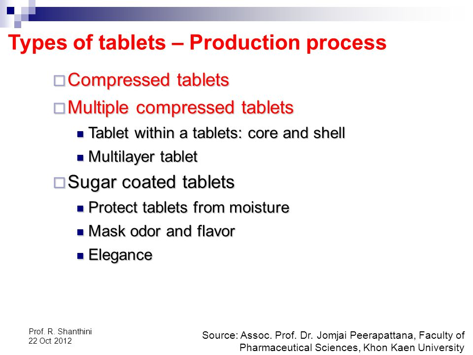 Prof.R. Shanthini 22 Oct 2012 Types of tablets – Production process Source: Assoc.