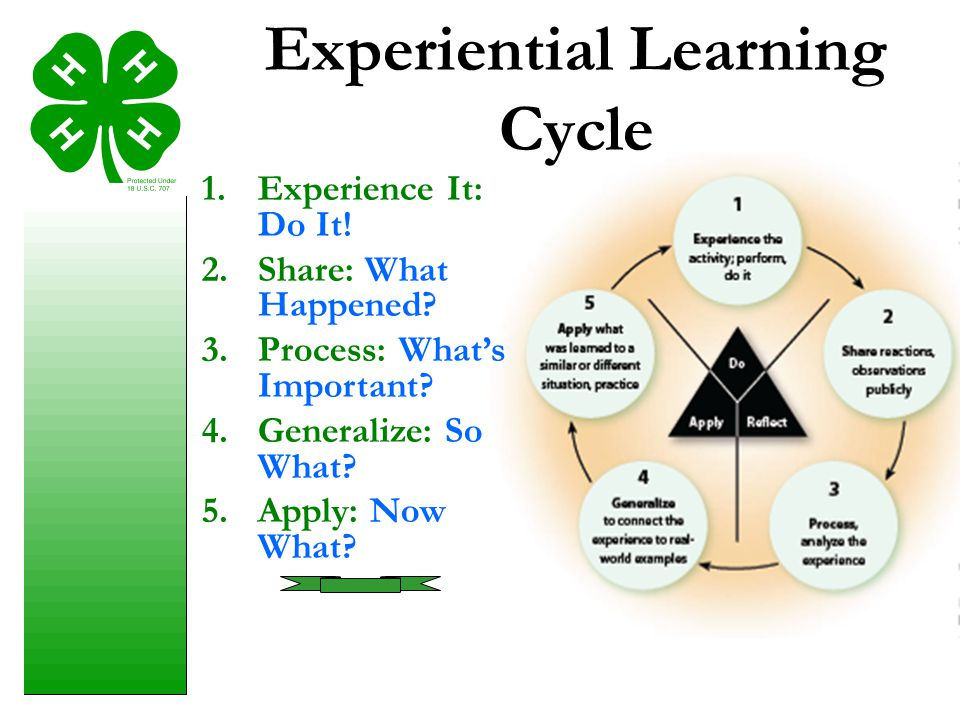 1.Experience It: Do It! 2.Share: What Happened? 3.Process: What's Important? 4.Generalize: So What? 5.Apply: Now What? Experiential Learning Cycle