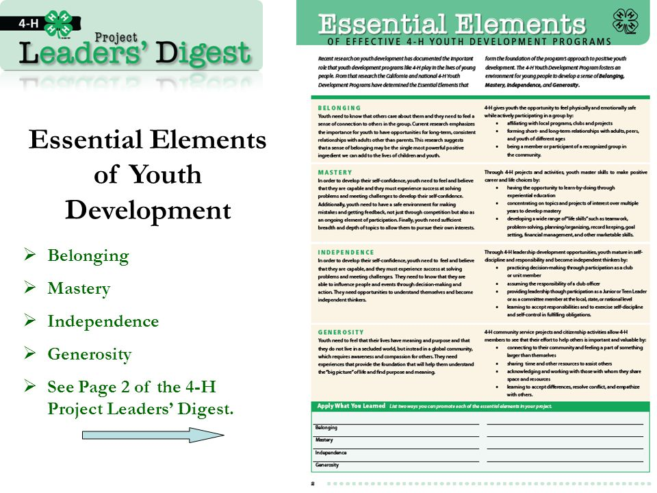 Essential Elements of Youth Development  Belonging  Mastery  Independence  Generosity  See Page 2 of the 4-H Project Leaders' Digest.