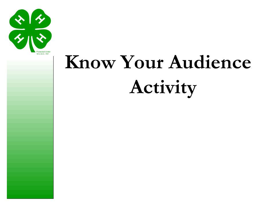 Know Your Audience Activity