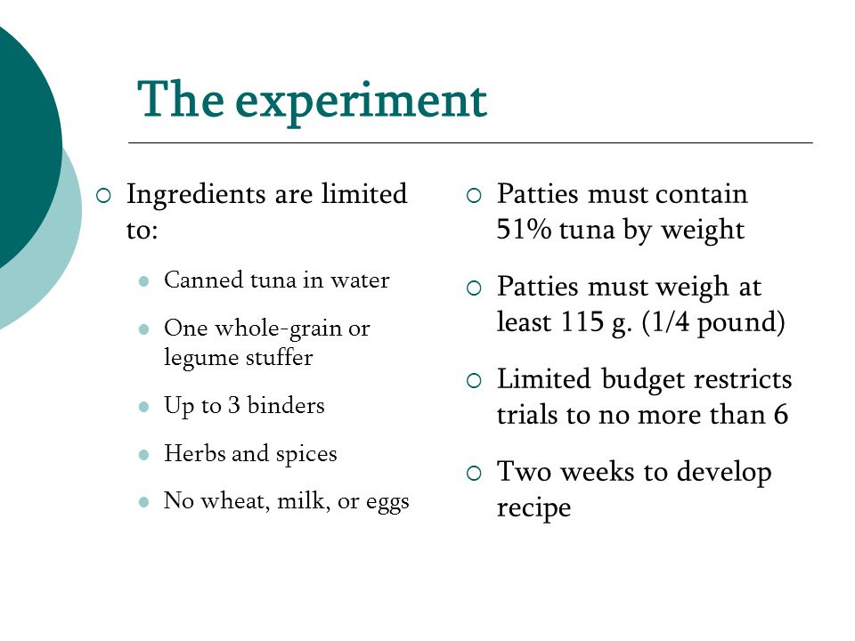 The experiment  Ingredients are limited to: Canned tuna in water One whole-grain or legume stuffer Up to 3 binders Herbs and spices No wheat, milk, or eggs  Patties must contain 51% tuna by weight  Patties must weigh at least 115 g.