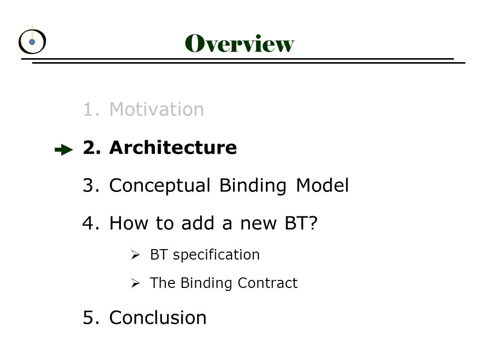 Specifying Binding Types (2) BT as a set of four `collaborations` –Binding Establishment describes sequence of actions to set-up a binding »Publisher: apu Bind (rep) »Subscriber: bindingCtl Bind (rep, subscriber) –Binding Control and Management describes process of managing an already- established binding (monitoring, controlling, adding/removing participants,...) »via bindingCtl or apu