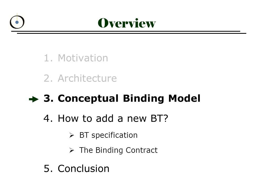 Conceptual Binding Model (1) bindings between participants responsible for binding establishment binder verifies that participants conform to participant roles, defined in the BT specification binder invokes appropriate operations on participant components and establishes binding return BindingCtl for binding control & management bindingCtl Bind(list_of_pcps, BT_specific_context_info)Interface: